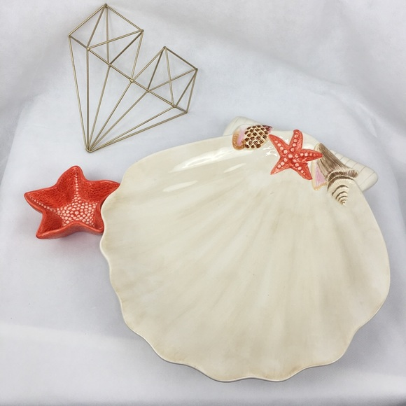 Ambiance Collection Other - Large Shell Serving Dish With Starfish Sauce Bowl